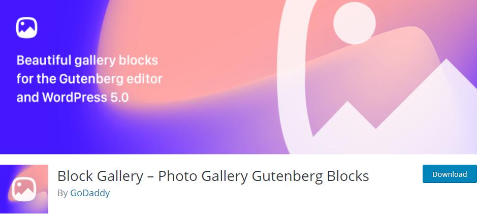 Block Gallery plugin for gutenberg