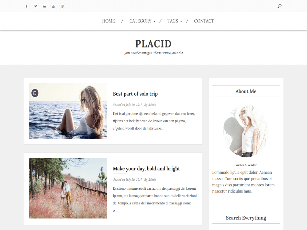 Placid free wordpress theme